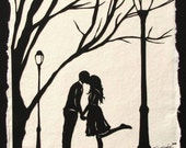 Mother's Day Sale 20% Off // AUTUMN KISS Papercut - Hand-Cut Silhouette - Kissing Couple // Coupon Code SALE20