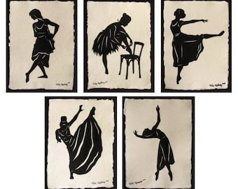 Sale 20% Off // GREAT DANCERS SERIES Papercuts - 5 Hand-Cut Silhouettes // Coupon Code SALE20