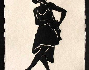 Sale 20% Off // Hand-Cut Papercut Art - ISADORA DUNCAN - Modern Dance Silhouette // Coupon Code SALE20