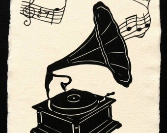 Sale 20% Off // Victrola - Hand-Cut Silhouette Papercut // Coupon Code SALE20