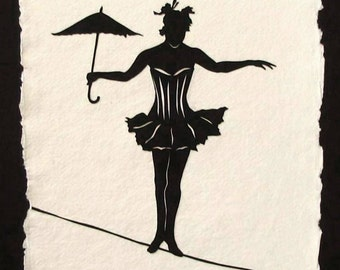 Sale 20% Off // ELVIRA on a TIGHTROPE - Hand-Cut Silhouette Papercut // Coupon Code SALE20