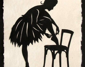 Sale 20% Off // Hand-Cut Papercut Art - ANNA PAVLOVA Ballerina Silhouette // Coupon Code SALE20