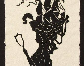 Sale 20% Off // MARIE ANTOINETTE Papercut - Hand-Cut Silhouette Papercut // Coupon Code SALE20
