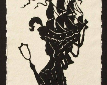 MARIE ANTOINETTE Papercut - Hand-Cut Silhouette Papercut