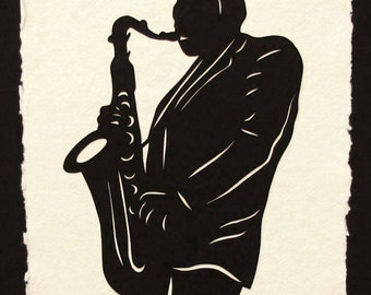 Father's Day Gift - Sale 20% Off // JOHN COLTRANE Papercut - Hand-Cut Silhouette // Coupon Code SALE20