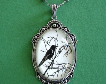 Sale 20% Off // FOR the LOVE Of CROWS Necklace, pendant on chain - Silhouette Jewelry // Coupon Code SALE20