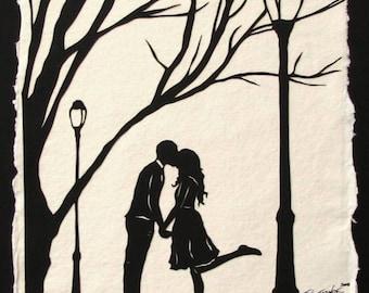 Sale 20% Off // AUTUMN KISS Papercut - Hand-Cut Silhouette - Kissing Couple // Coupon Code SALE20