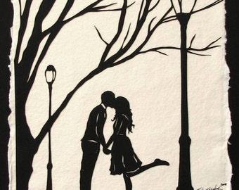 AUTUMN KISS Papercut - Hand-Cut Silhouette - Kissing Couple