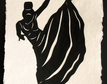 Sale 20% Off // Hand-Cut Papercut Art - MARTHA GRAHAM - Modern Dance Silhouette // Coupon Code SALE20