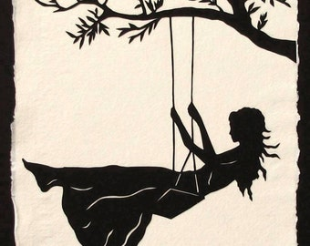 Sale 20% Off // GIRL ON A SWING Papercut - Hand-Cut Silhouette // Coupon Code SALE20