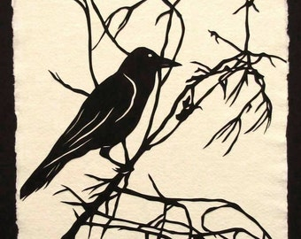 Sale 20% Off // Hand-Cut Papercut Art - Crow Silhouette - FOR the LOVE of CROWS // Coupon Code SALE20