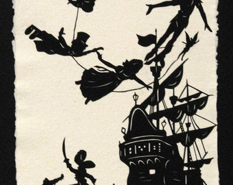 Sale 20% Off // PETER PAN Papercut - Hand-Cut Silhouette // Coupon Code SALE20