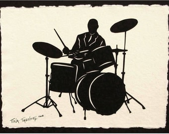 Father's Day Gift - Sale 20% Off // ELVIN JONES Papercut - Hand-Cut Silhouette // Coupon Code SALE20