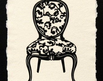 Sale 20% Off // LOUIS XV CHAIR Papercut - Hand-Cut Silhouette // Coupon Code SALE20