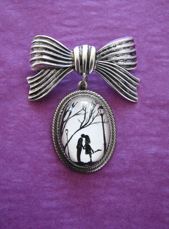 Sale 20% Off // AUTUMN KISS Brooch - pendant on bow pin - Silhouette Jewelry // Coupon Code SALE20