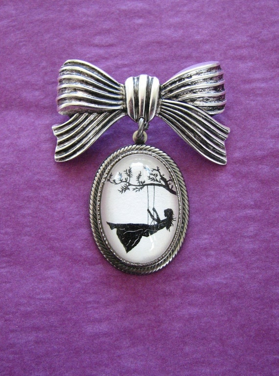 Sale 20% Off // GIRL on a SWING Brooch - pendant on bow pin - Silhouette Jewelry // Coupon Code SALE20