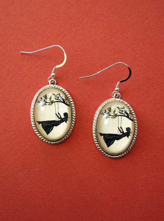 Sale 20% Off // GIRL on a SWING Earrings - Silhouette Jewelry // Coupon Code SALE20