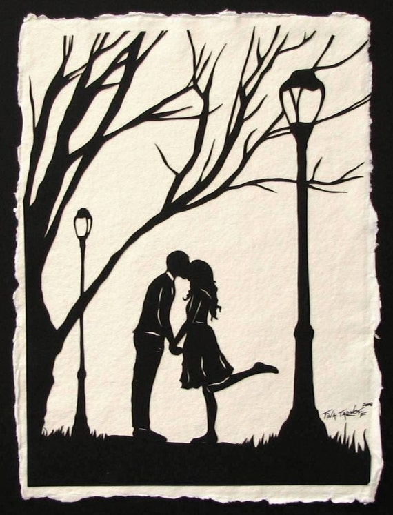 Sale 20% Off // AUTUMN KISS Papercut - Hand-Cut Silhouette - Kissing Couple // Coupon Code SALE20