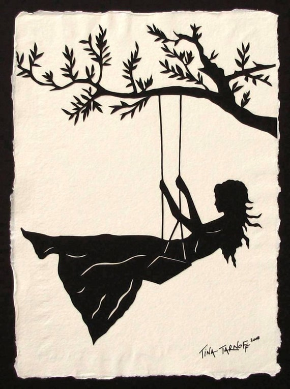 Sale 30% Off // GIRL ON A SWING Papercut - Hand-Cut Silhouette // Coupon Code SALE30