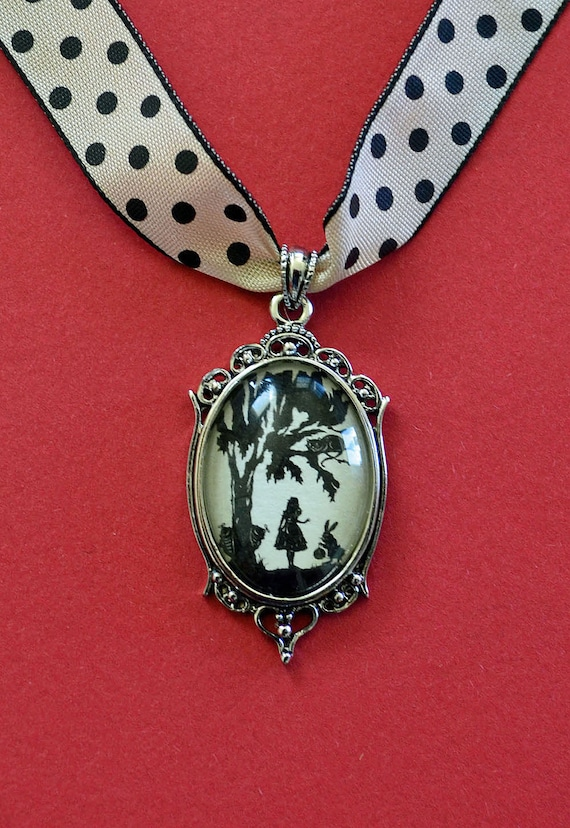 Sale 20% Off // ALICE IN WONDERLAND Choker Necklace, pendant on ribbon - Silhouette Jewelry // Coupon Code SALE20