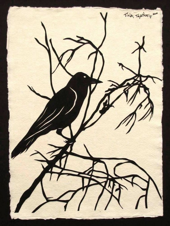 For the Love of Crows, No. 1 - Original Papercut Art