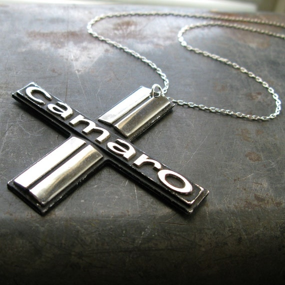 salvaged CHEVY CAMARO necklace 1970s