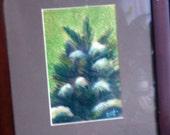 SALE  original art drawing framed 8x10 snowy evergreen tree. was 30 dollars SALE
