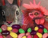 original art drawing aceo card Easter jelly beans chicken bunny