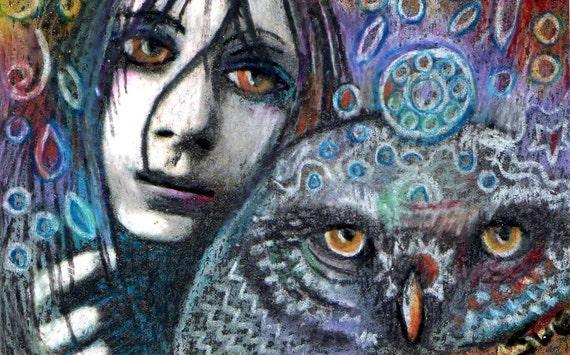 original art aceo drawing owl zentangle punk girl