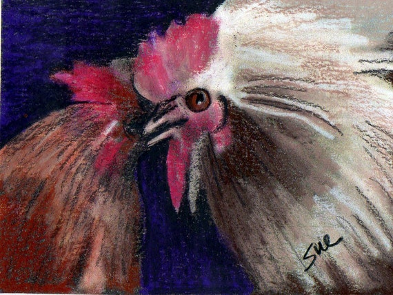 cyber Monday sale original art aceo drawing abstract chicken rooster fight
