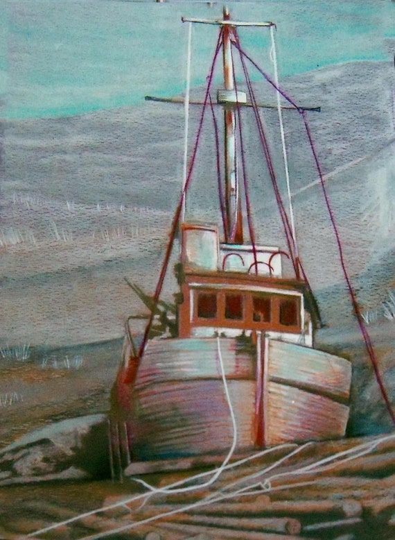 fishing boat  junk yard dry land original art drawing matted 14x18 1/2