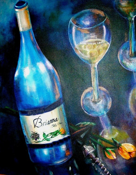 Original art work acrylic painting wine glass by for How to paint a wine glass with acrylics