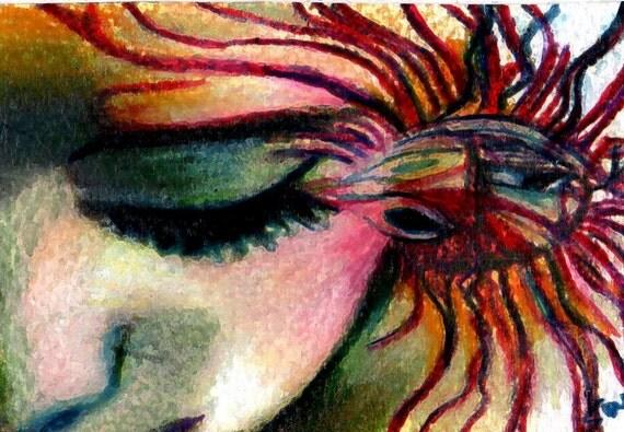 original aceo drawing  woman sun drop abstract