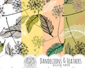 Dandelions and Feathers Digital Scrapbook Paper Set - PDF, JPG - Personal and Commercial Use