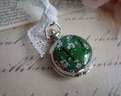 Evelyn... kelly green floral pocket watch necklace