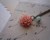 C'est La Vie necklace ...French inspired lifestyle, lovely blushing coral flower