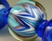 Andie's Glass - Blue Blossoms - 3 Beads