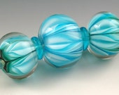 Andies Glass - Turquoise Bloom Series - 3 Bead Set