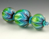 Andie's Glass - Double Bloom Series - Blues and Greens - 3 Beads