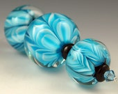 Andies Glass - Bloom Series Beads - Set of 3 Turquoise