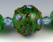 Andie's Glass - 'Streaky Green with Garden Scroll' - Focal Hollow Bead