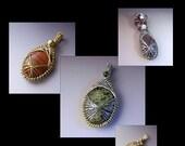Peruvian Weave Encased Stone Pendant Wire Jewelry Tutorial