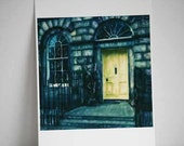 Door Polaroid Print - The Yellow Door - Fine Art Polaroid Painting Print - 8x8 inch