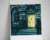 Door Polaroid Print - The Yellow Door - Fine Art Polaroid Painting Print - 8x8 inch