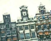Amsterdam Houses - Mini Polaroid Painting