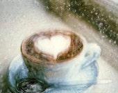 Coffee Heart - Polaroid Painting