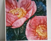 Flower photograph - Peonies - Polaroid Painting - 8x8 inch