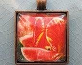 Red Tulip Pendant - Photo Pendant - Polaroid Pendant