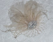 Champagne Feather Fascinator Wedding Headpiece with Brooch