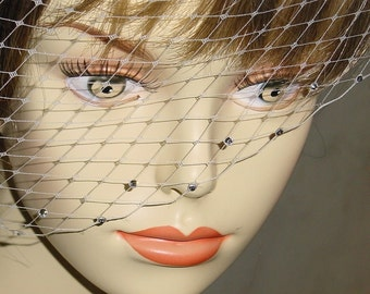 Small Birdcage Blusher Wedding Veil with Rhinestones --24 Colors Available